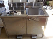 Sink with round and square basin and sterilizer